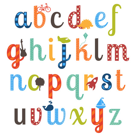 number of animals: Cute Boy Themed Alphabet Vector Set
