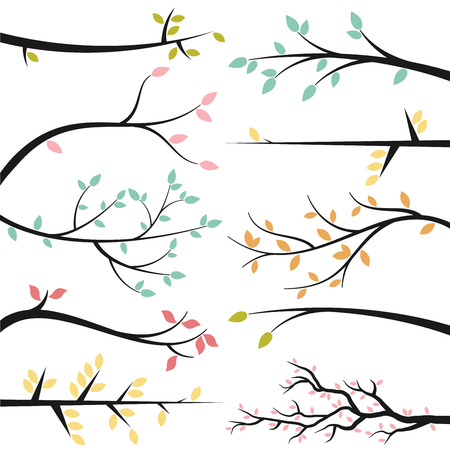 Vector Collection of Tree Branch Silhouettes Çizim