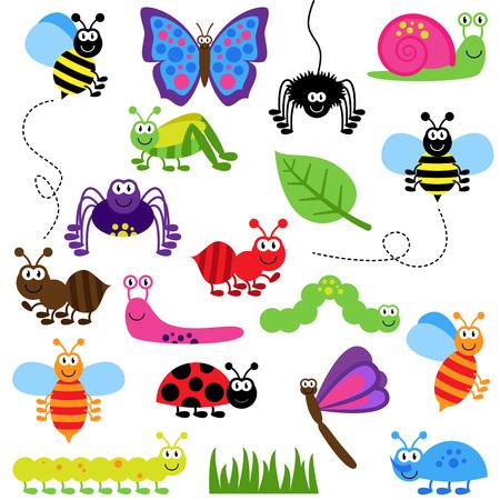 Große Vektor-Set von niedlichen Cartoon Bugs Standard-Bild - 29965979