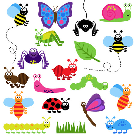 Large Vector Set of Cute Cartoon Bugs Çizim