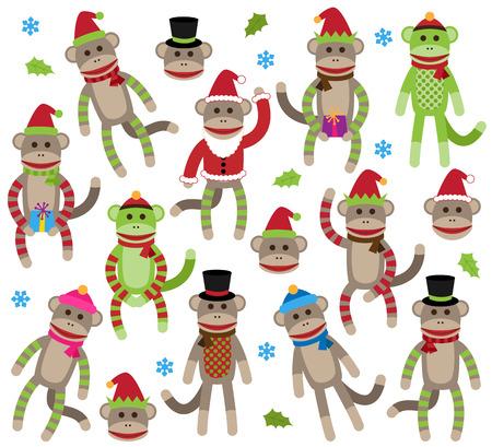 calcetines: Colección de vectores de Navidad linda y ambiente invernal Sock Monkeys