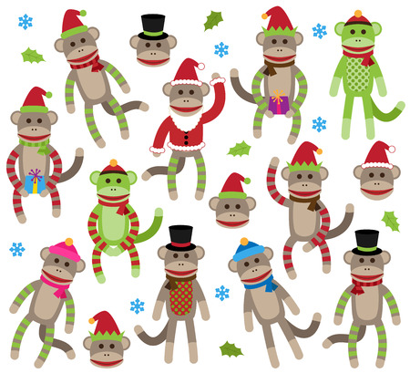 Vector Collection of Cute Christmas and Winter Themed Sock Monkeys Ilustração