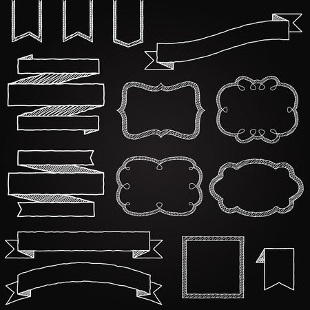 Vector Collection of Chalkboard Style Banners, Ribbons and Frames Vector