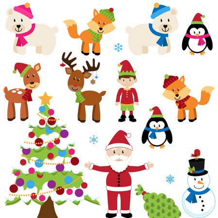 pinguinos navidenos: Vector Set of Christmas Animals, Santa Claus y el árbol
