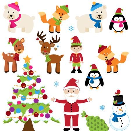 Vector Set van Kerstmis Dieren, de Kerstman en de Boom