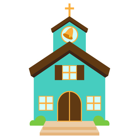 Vector Illustration of a Cute Church or Chapel Çizim