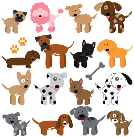 Vector Collection of Cute Cartoon Dogs Vector