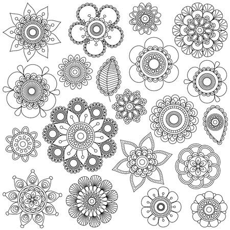 낙서 스타일의 꽃 또는 만다라의 벡터 컬렉션