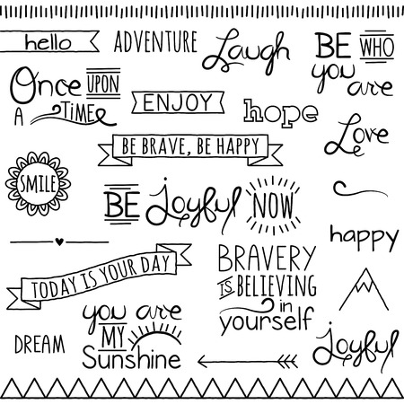 Vector Collection of Hand Drawn Doodle Word and Phrases Çizim
