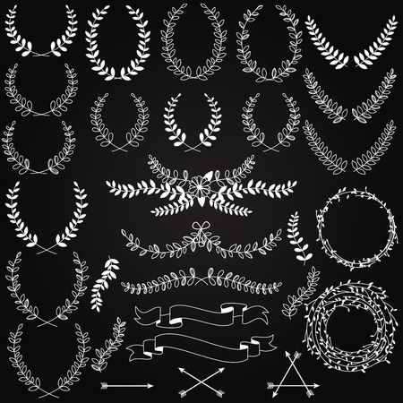 Vector Collection of Chalkboard Style Hand Drawn Laurels Vector