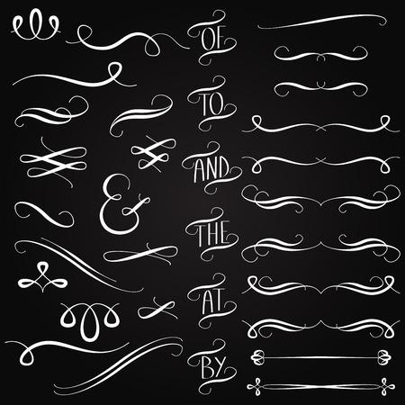 칠판 스타일 단어, 장식, 장식품 및 분배기의 벡터 컬렉션 일러스트