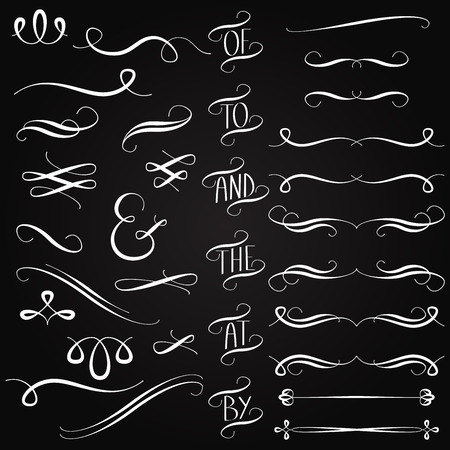 lavagna: Vector Collection of Chalkboard Style Parole, decorazione, ornamenti e divisori Vettoriali