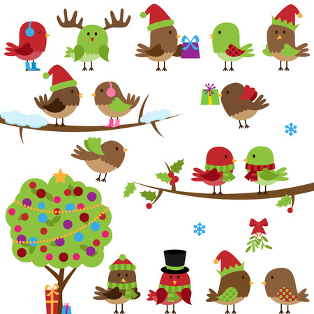 muffs: Vector Collection of Christmas and Winter Birds Illustration