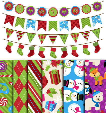 Vector Collection of Christmas and Winter Themed backgrounds and Bunting Vector