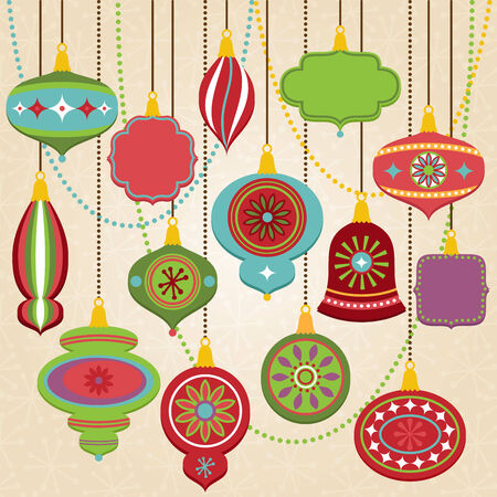 Colección de vectores de Retro adornos de navidad Foto de archivo - 29966043