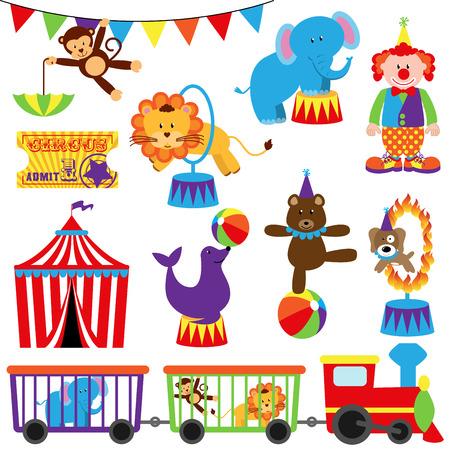 животные: Вектор Набор Милые Цирк тематические изображения