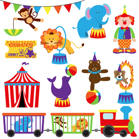 circus performer: Vector Set of Cute Circus Themed Images Illustration