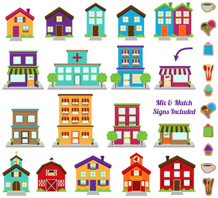 ベクター コレクションの市および様々 な標識を含む町の建物