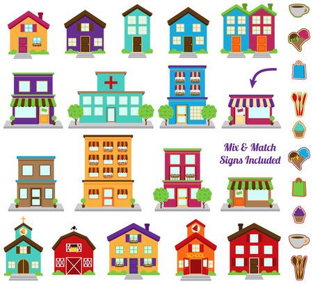 Collection de vecteur de bâtiments de ville et de ville, y compris divers signes