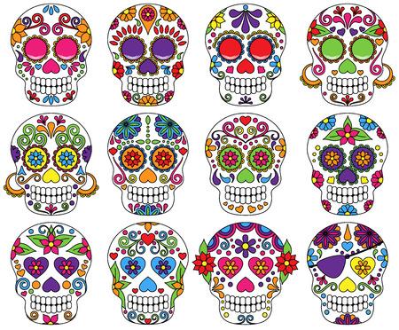 dia de muerto: Vector Conjunto de Día de los Muertos o Sugar Skulls