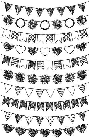 Vector Set van hand getrokken doodle Bunting Stock Illustratie