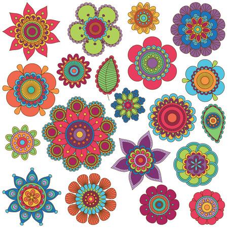 낙서 스타일 꽃 또는 만다라의 벡터 컬렉션