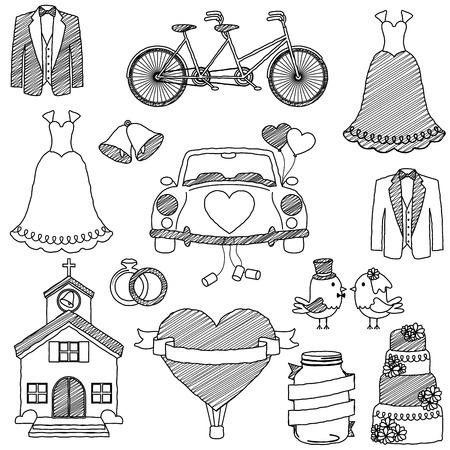 Wedding Themed Doodles Illustration