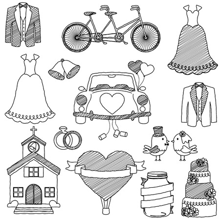 just married: Wedding Themed Doodles Illustration
