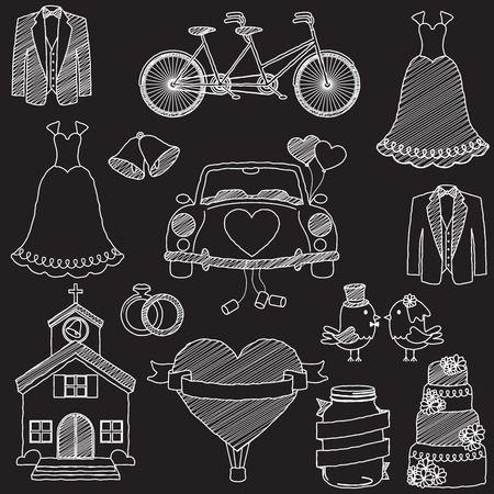 Chalkboard Style Wedding Themed Doodles Vector