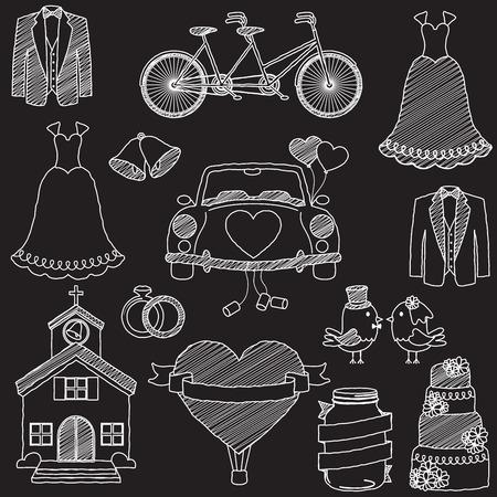 recien casados: Pizarra de boda del estilo Doodles temáticos