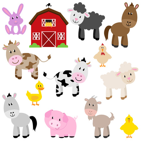 cow: Vector Collection of Cute Cartoon Farm Animals and Barn
