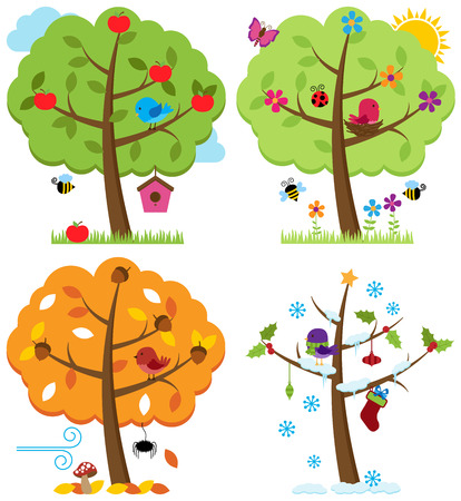 estado del tiempo: Vector Conjunto de cuatro árboles de las estaciones con los pájaros