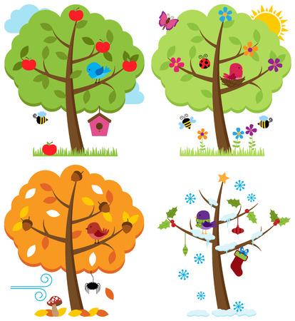 seasons greetings: Vector Set di quattro stagioni Alberi con uccelli