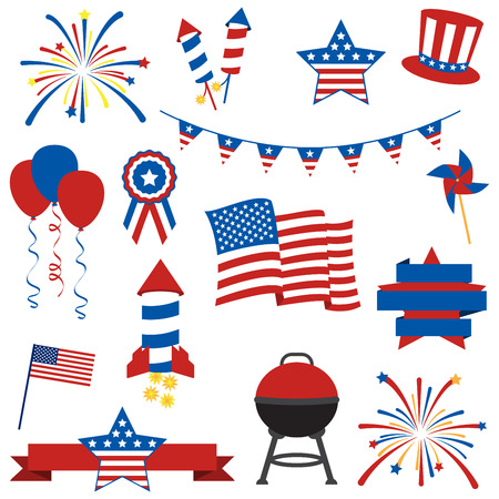 american flag fireworks: Vector Collection of Fourth of July Items