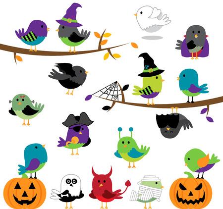 themed: Vector Set of Halloween Themed Cartoon Birds Illustration