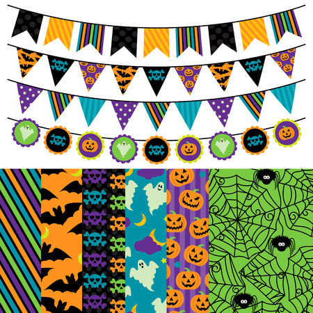 themed: Vector Collection of Halloween Themed Bunting and Seamless Tileable Backgrounds Illustration