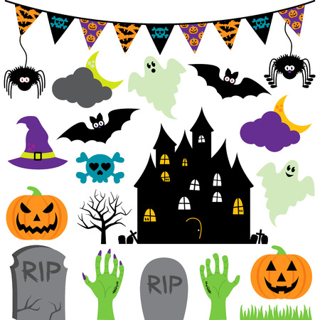 house in hand: Vector Halloween Set with Scary and Cute Elements Illustration