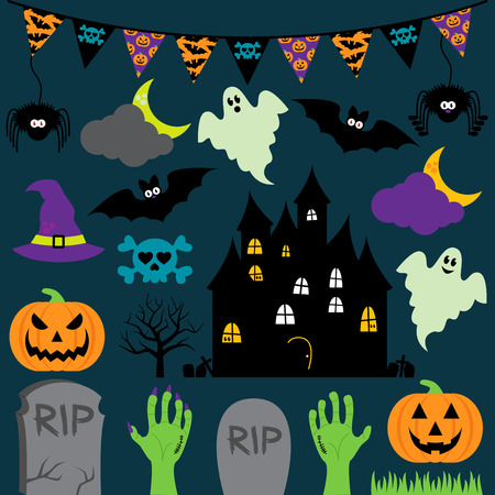 Vector Halloween Set with Scary and Cute Elements Illustration