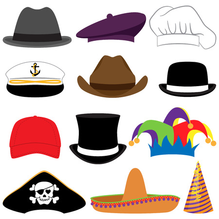 Vector Collection of Hats or Photo Props Çizim
