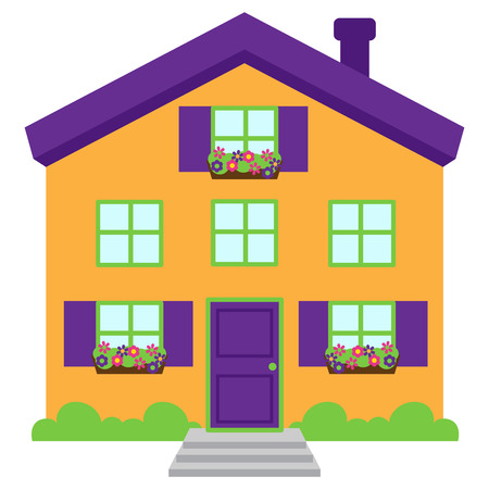 Cute and Colorful Isolated Vector Home Vector