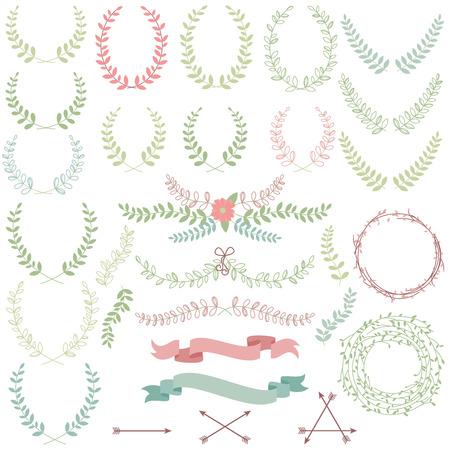 Vector raccolta di allori, elementi floreali e Banners Archivio Fotografico - 29966182