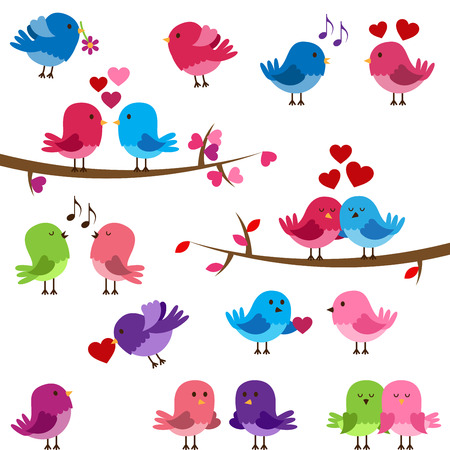 Vector Collection of Cute Love Birds