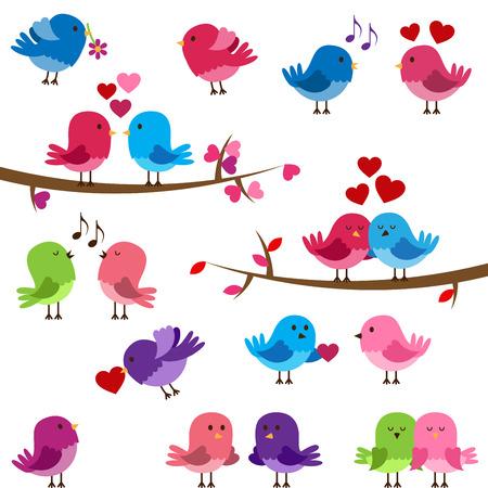 enamorados besandose: Vector colección de pájaros lindos del amor
