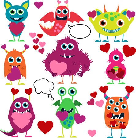 cartoon alien: Vector Set of Cute Love Monsters
