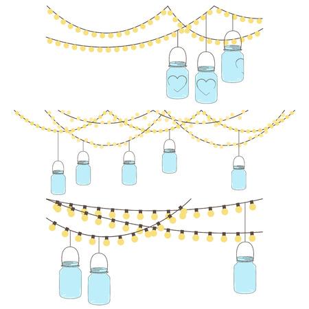 bocaux en verre: Vector Set de verre suspendus lumi�res de pot et Bunting Illustration