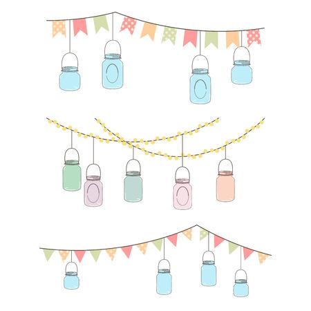 appendere: Vector Set di appendere le luci vaso di vetro e Bunting