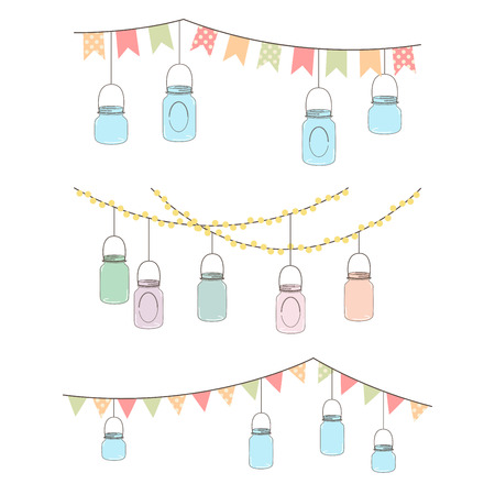 lights on: Vector Set of Hanging Glass Jar Lights and Bunting
