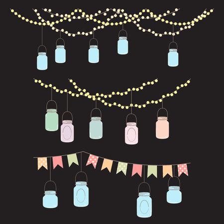 wedding reception decoration: Vector Set of Hanging Glass Jar Lights and Bunting