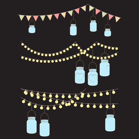 bunting flag: Vector Set of Hanging Glass Jar Lights and Bunting