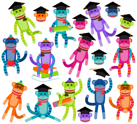 after school: Vector Collection of Brightly Colored School and Graduation Themed Sock Monkeys